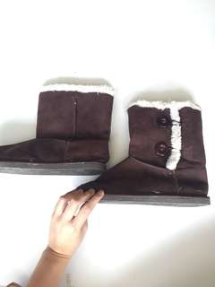 Fur Dark Brown Boots