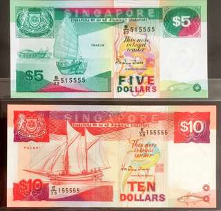 💥515555💥155555💥 🚢 Series Notes with Almost Solid '5's & with Almost Identical Numbers in Extremely Crispy Brand New Mint Uncirculated Condition 🎁 💝