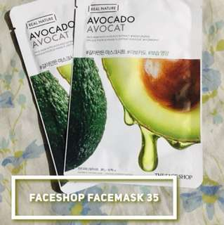 AUTHENTIC THE FACESHOP AVOCADO FACEMASK