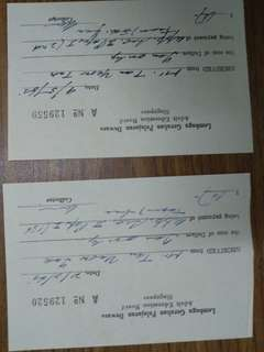 Pair of receipts-dated 1965