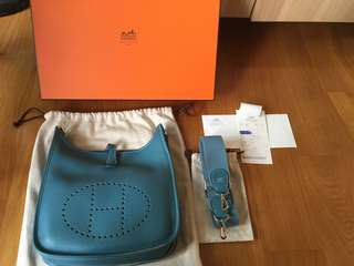 真品 Hermes Evelyne PM Blue Jean