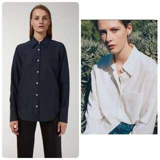 代購北歐Arket 新品 經典斜紋柔滑襯衫 深藍 白色
