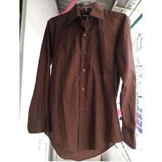 Arrow 美國箭牌 男版襯衫 褐色 咖啡色 14半領圍