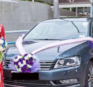 婚禮 花車紫色花球 連8個車門花