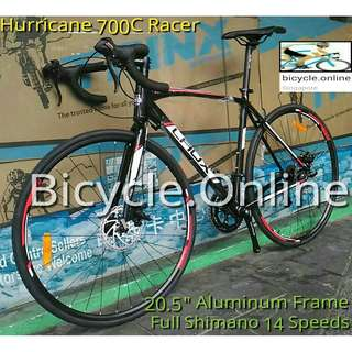 Laux Hurricane : 700C Aluminium Racer Road Bike (available frame size: 480, 500, *520, 540mm) ✩ Light weight ✩ Full Shimano 14 Speeds ✩ Brand new bicycle