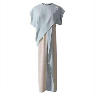 PO - Patchwork Long Kimono Sleeve Belt High Waist Ruffles Irregular Dress (2 colors)