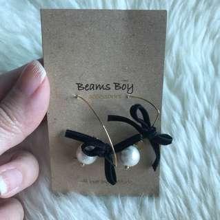 日本Beams Boy 黑色蝴蝶結耳環