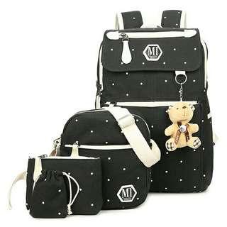 Tas Sekolah Wanita Bag in Bag 4 in 1 - Black