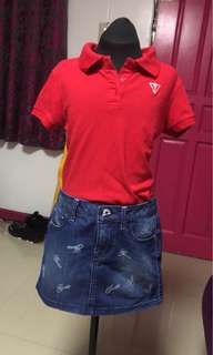 Bundle-Guess Kids Skirt and Polo Shirt Size M10 and M10-12
