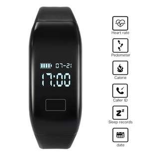 AC719 - 防水智能運動腕帶心率睡眠監視器手鐲觀看計步器健康運動追踪器(黑色)