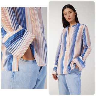 代購北歐Arket 新品 條紋Popover輕質純棉襯衫