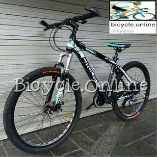 "CROLAN Aluminum 26"" Mountain Bike / MTB ★ 24 Speeds, light weight, front suspension, disc brakes ✩ Brand new Bicycles"
