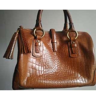 Fino Camel Leather Barrel Bag