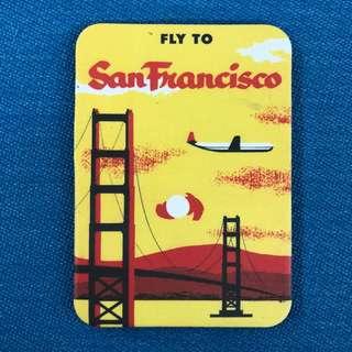 Vintage Fly to San Francisco Fridge Magnet