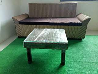 Brandnew 2 seater sofa wit center table