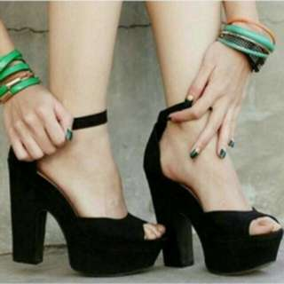 sendal wedges stileto high heels wanita bahan suede best seller