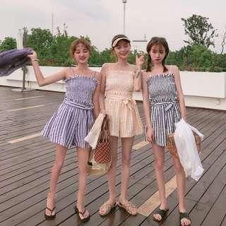 ❤️實拍🇰🇷韓國chic吊带衫➕闊腿褲 一set