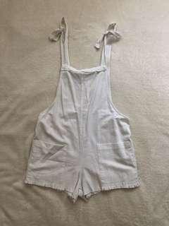 White Linen Short Overalls