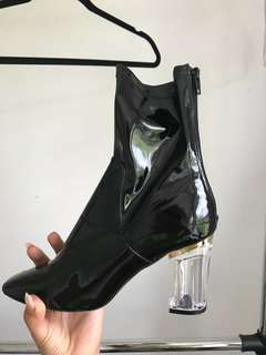 Shoes with clear heel