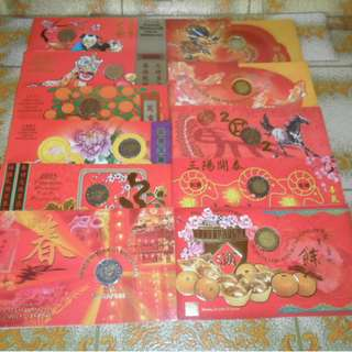 1994-2004 Singapore Uncirculated Coin Set Hongbao Pack. (Lot of 11 packs)