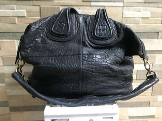 Authentic Givenchy Nightingale Large Pebbled Leather Black
