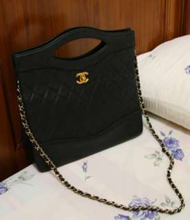 Vintage Chanel黑色羊皮classic handle/chain bag 30x28cm