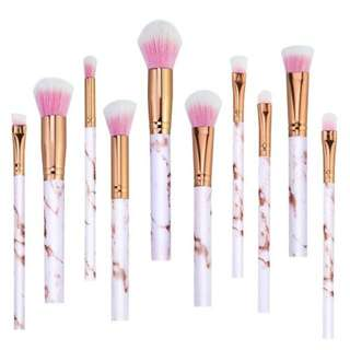 Pink Marble Makeup Brush Set 10pcs