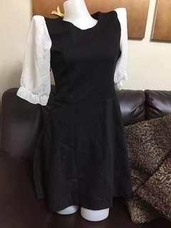 3/4 black and white dress