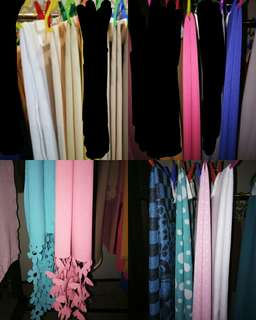 Total 12pcs of Pashmina Kerudung Segiempat Motif Polos bahan Diamond Crepe and mix