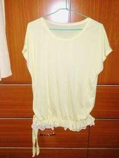 🚚 鵝黃色蕾絲罩衫