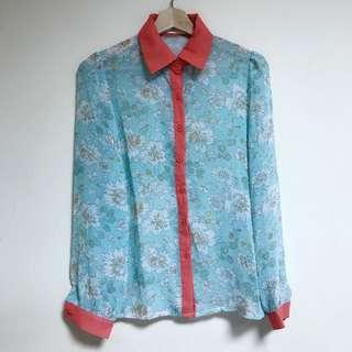 🚚 全新撞色滿版印花雪紡紗襯衫|Janet Style