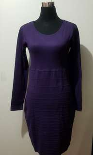 Promod Purple Long Sleeves Bodycon Large Dress