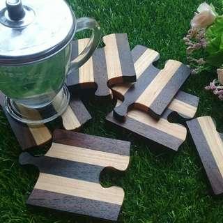 Wood coaster / Tatakan gelas Kayu (PineRosewood)