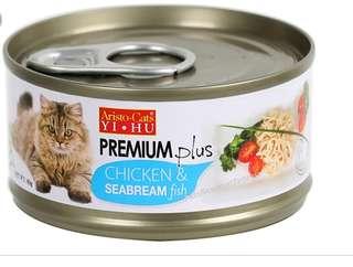 premium plus chicken with seabream cat canned food