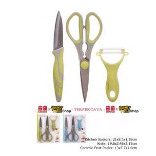 Japan Quality - Set Alat Dapur 3pc Gunting, Peeler & Pisau Miniso