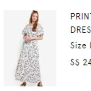 Printed Off Shoulder Maxi Dress (White)