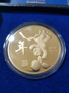 24k gold plated medallion year of monkey