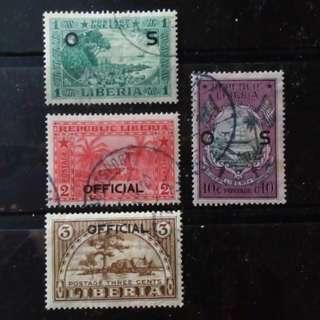 [lapyip1230] 利比里亞 1921年 政府公文專用 加蓋票 舊票 VFU