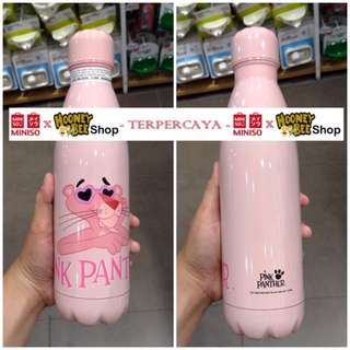 Japan Quality - Botol Pink Panther Thermos Bottle Miniso