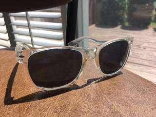 Clear Frame Blue Mirror Sunglasses