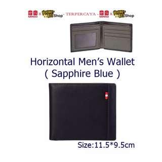 Japan Quality - Dompet Pria Navy Horizontal Men Wallet Miniso