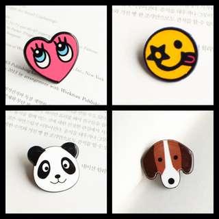 📮Free NORMAL postage 💯Brand New Ulzzang Pin (Pretty ^ Smiley ^ Dog ^ Panda)