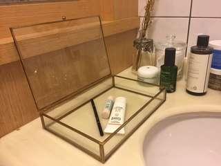 🚚 復古黃銅玻璃首飾盒