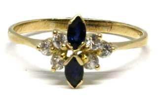 14ct Yellow Gold with Blue and Clear Stones Weight 1.7g Size Q1/2