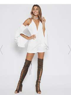 BNWT White Open Shoulder Bell Sleeve Playsuit - Size Small
