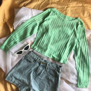 Mint Cropped Knit Pullover