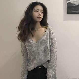V Neck Top Long Sleeve Top Grey Long Sleeve ShirtBlouse