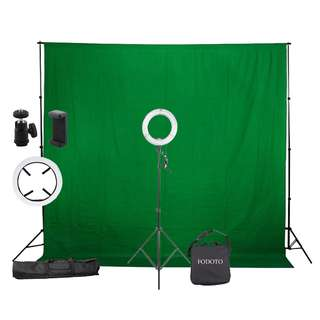 "Fodoto 13"" Diva Ring Light + Green Screen & Stand"