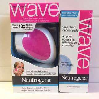 BNIB Neutrogena Wave Power-Cleanser Facial Cleansing Brush + Deep Clean Foaming Pad Refills