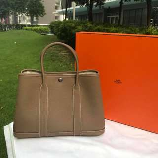 LUXURY SALE! Hermes Garden Party 30 Leather Bag